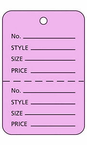 2000 Perforated Tags Price Sale 1 W X 2 H Two Part Purple Merchandise Tag
