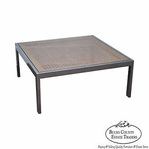 Milo Baughman Chrome Cane Glass Top Square Coffee Table