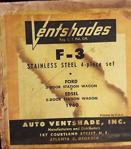 F 3 Vent Shades Ford 2 Door Station Wagon Edsel 2 Door Station Wagon 1960