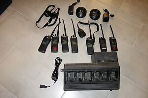 Set Of 7 Motorola Xts1500 2 way Radios And Ht1250 With Accessories