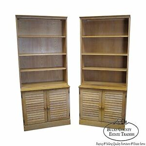 Brandt Ranch Oak Pair Of Open Bookcases W Cabinet Bases