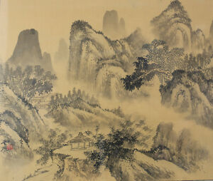 Antique Chinese Ink And Wash Painting On Silk Mountain Landscape Signed Framed