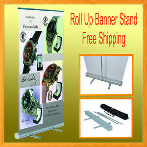 1 Set Retractable Roll Up Banner Stand Trade Show 33 5 X 78 Free Shipping