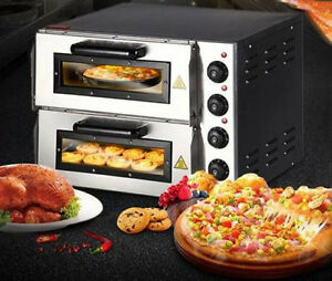 Ce 220v 16 Double Electric Pizza Oven Commercial Ceramic Stone Free Shipping