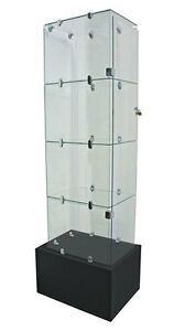 Glass Cube Tower Showcase Base Jewelry Display Fixture Knockdown Case New