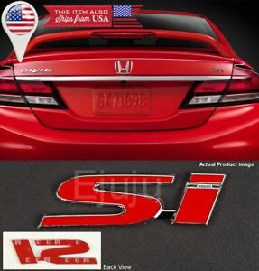 4 3 X 1 Metal Red Si Emblem Decal Sticker Badge For All Civic Trunk Fender Lip