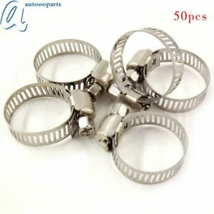 50pcs Stainless Steel Adjustable Drive Hose Clamps Fuel Line Worm Clips 3 4 1