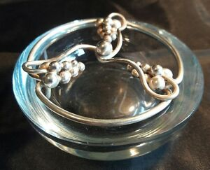 Dgh Denmark Mid Century Sterling Silver Crystal Covered Vessel Dish Grapes