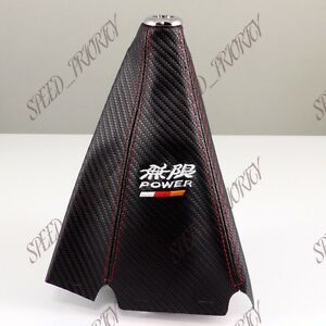 Mugen Pvc Carbon Fiber Look Red Stitch Shift Knob Shifter Boot Cover Mt At Jdm