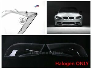 Us New Pair Headlight Lens Plastic Shell Cover For Bmw 05 08 E90 Halogen Only