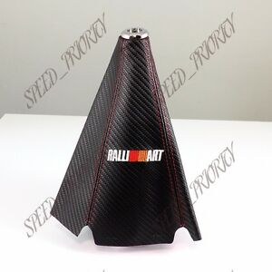 Ralliart Carbon Fiber Look Pvc Blue Stitches Shift Knob Shifter Boot Cover Mt At