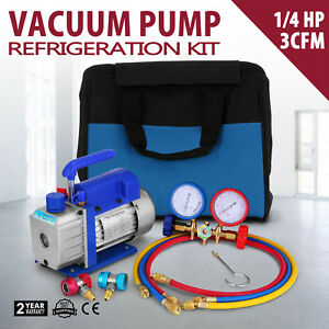 Air Vacuum Pump Hvac A c Refrigeration Kit Ac Manifol Guage Set 3cfm 1 4hp New