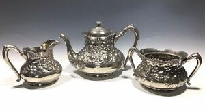 Mf D Plated By Reed Barton 3517 3 Pcs Set Tea Pot Creamer Sugar Bowl