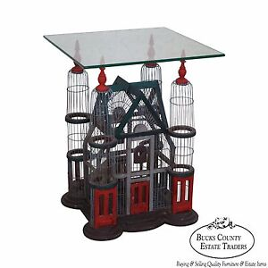 Victorian Style Bird Cage W Glass Top Side Table
