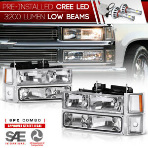 Built In Led Low Beam 94 98 Chevy Silverado Suburban Tahoe Ck Signal Headlight
