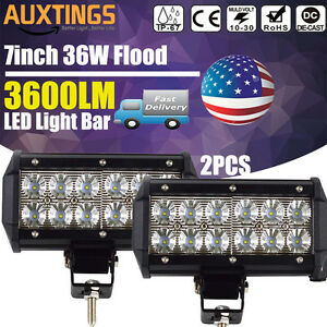 7 Inch 36w Cree Led Work Light Bar Flood Beam Driving 4wd Offroad Truck For Jeep
