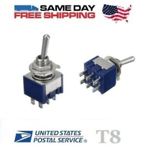 2x Mini Dpdt Double Pole Double Throw 6 pin on off on 6amp Toggle Switches