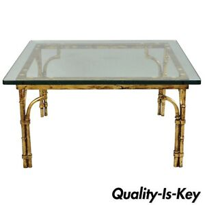 Italian Gold Gilt Iron Glass Faux Bamboo Square Coffee Table Hollywood Regency