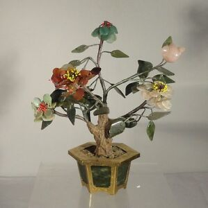 Antique Vintage Chinese Spinach Jade Tree Hong Kong Carnelian Jadeite Rose Quart