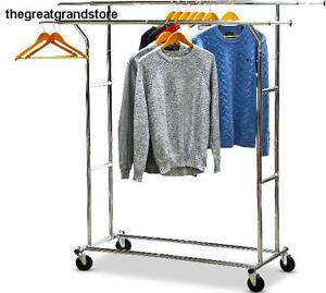 Commercial Grade Double Rail Clothing Garment Rack Chrome Load Capacity Design