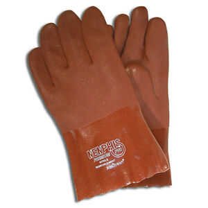 12 New Memphis Pvc Coated Non slip 10 Lined Industrial Safety Work Gloves 6451s