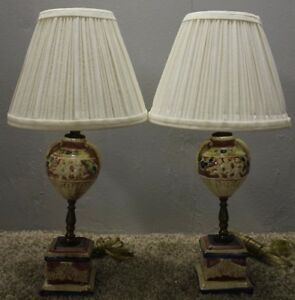 Beautiful Pair Of Japanese Hand Painted Ornate Porcelain Desk Lamps