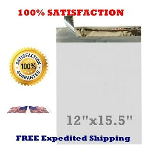 50 100 200 500 12x15 5 White Poly Mailers Envelopes Bags 12 X 15 5 2 35mil