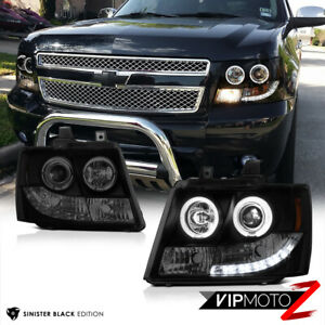 07 14 Chevy Tahoe Suburban 07 13 Avalanche Smoke Black Angel Eye Headlights Led