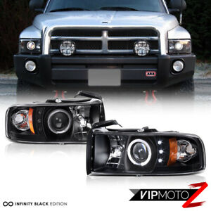 1994 2001 Dodge Ram 1500 Halo Led Projector Headlights Pair 94 02 Ram 2500 3500
