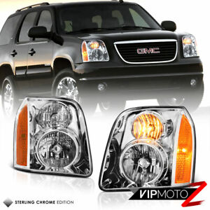 For 07 14 Gmc Yukon Xl 1500 Denali Chrome Front Headlight Assembly Lh Rh Side