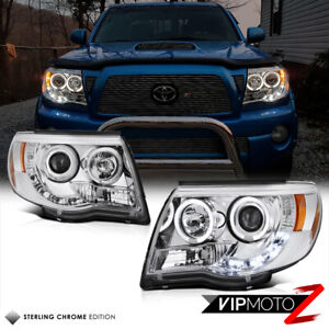 Angel Eye Led Halo Chrome Projector Headlight Lamp For 05 11 Toyota Tacoma Truck