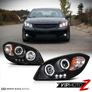 For 05 10 Chevy Cobalt G5 Black Dual Halo Angel Eyes Led Drl Projector Headlight