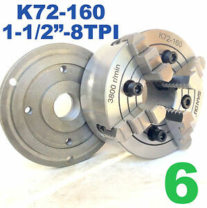 1 Pc Lathe Chuck 6 4 Jaw Independent W back Plate 1 1 2 8tpi K72 160 Sct888