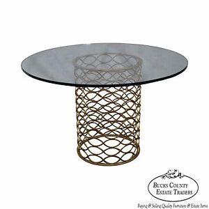 Jonathan Charles Classic Modern Hollywood Regency Gilt Metal Round Glass Table