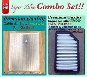 Combo Set Engine And Cabin Air Filter For Kia Soul 2014 2019 Oem 97133 b2000