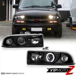 New Pair Led Projector Black Headlight Led Halo Lamps 1998 04 Chevy S10 Blazer