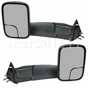 For 94 01 Dodge Ram 1500 94 02 2500 3500 Pickup Manual Tow Mirrors None heated
