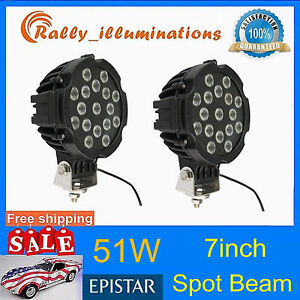 2pcs 51w Spot Led Work Light Black Round Off Road Fog Driving 4wd Boat Ute Rally