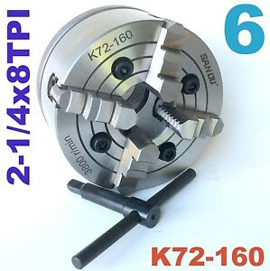 1 Pc Lathe Chuck 6 4 Jaw Independent W back Plate 2 1 4 8tpi K72 160 Sct888