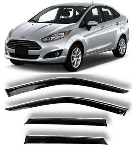Chrome Trim Side Window Visors Guard Vent Deflectors For Ford Fiesta 2012 2019