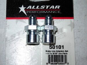 Allstar Steel Brake Line Adapter 4 An To 3 16 Inverted Flare 2pk All50101