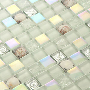 Glass Tile White Shell Mosaic Tile Iridescent Backsplash Subway Wall Sheet 11pcs