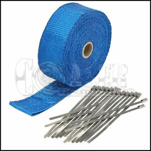 Blue Exhaust header Heat Wrap 1 X 50 Roll With Stainless Steel Ties New