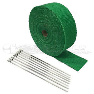 2 50ft Green Header Exhaust Heat Wrap 8 Ties Kit High Heat Quality Fiberglass