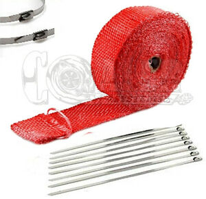 Exhaust Header Heat Wrap 2 X 25 Roll Stainless Steel Zip Cable Ties Red
