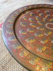Antique Brass 15 25 Round Tray Painted Floral Geometric Design Red Yellow White