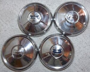 1954 Chevy Belair Dog Dish Poverty Hubcaps 10 1 4 Inside Bead 10 1 2 Outer