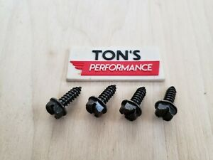 4 Pc License Plate Screws Black Standard Zinc Plated Standard Car Truck Suv Set