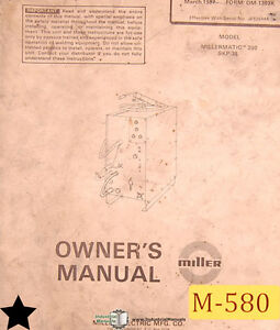 Miller Millermatic 200 Skp 35 Welding Owner s Manual Year 1987