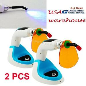 2pcs 10w Wireless Cordless Led Dental Curing Light Lamp 2000mw Whitening Usa